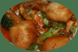 Gebackener Fisch in süß-saurer Sauce